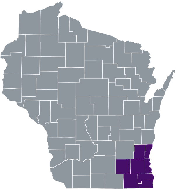 State of Wisconsin with counties served colored in